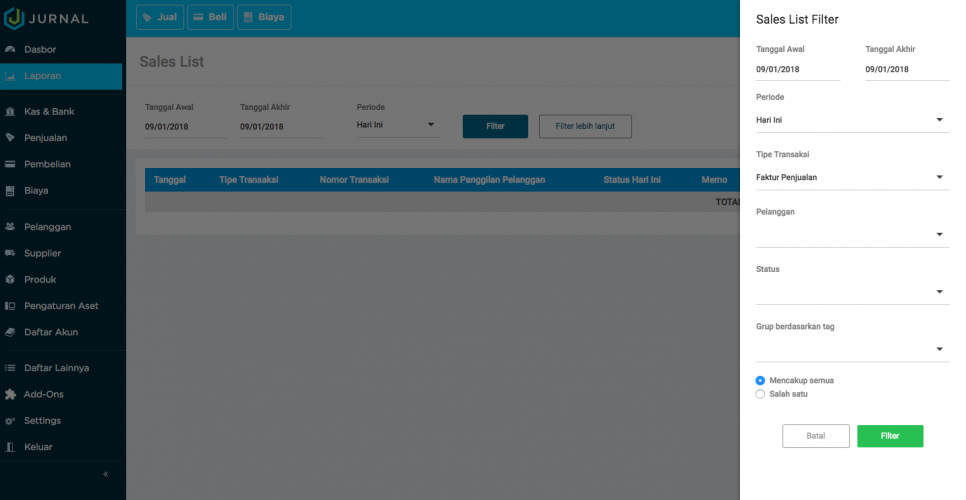 Cara membuat pembukuan sederhana atau laporan penjualan di Aplikasi akuntansi Jurnal By Mekari (4)