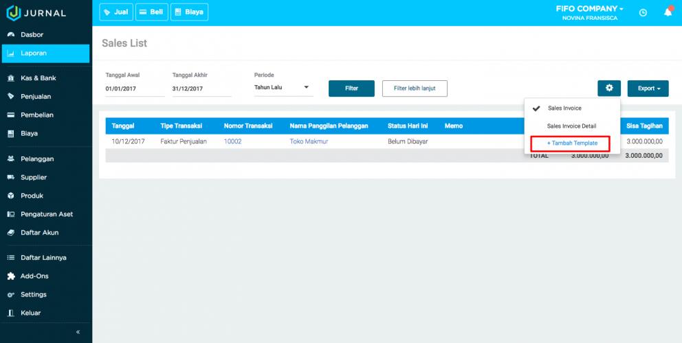 Cara membuat pembukuan sederhana atau laporan penjualan di Aplikasi akuntansi Jurnal By Mekari (6)